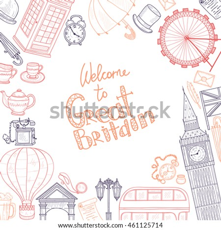 Card Template Welcome Great Britain Hand Stock Vector 461125714 ...
