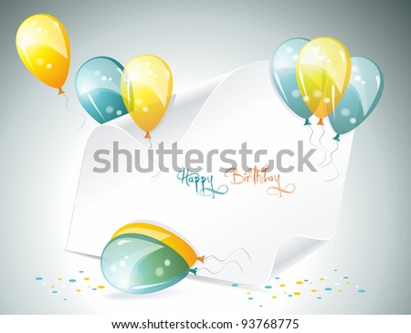 Card to birthday, with balloons - stock vector