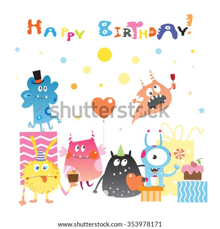 Card to birthday with cute cartoon monster, gifts and sweets. Vector image. - stock vector