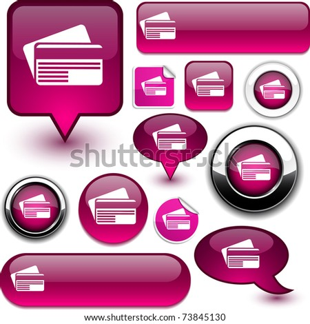 Card vector glossy icons. - stock vector