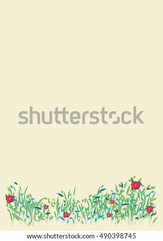 Card wild blooming meadow spring summer nature banner vector flyer