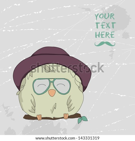 Card with a cute owl on a retro background. Fashion owl dressed as a hipster - stock vector