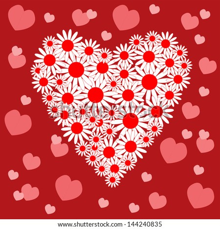 Card with a heart of white daisies - stock vector