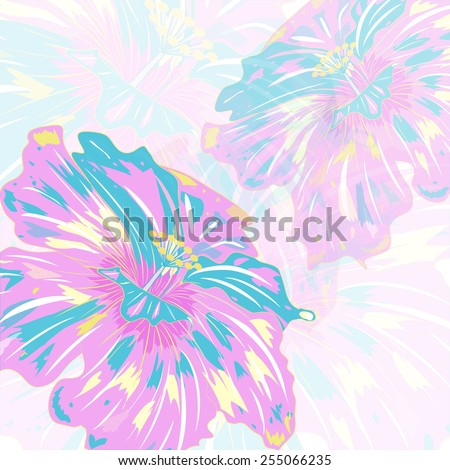 card with abstract colorful flowers, vector illustration  - stock vector