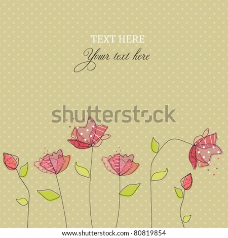 Card with abstract flowers - stock vector