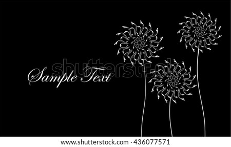Card with abstract flowers, dandelions. Black and white business card. Vector illustration. - stock vector