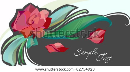card with abstract red rose - stock vector