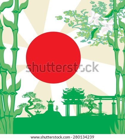 card with Asian buildings - stock vector
