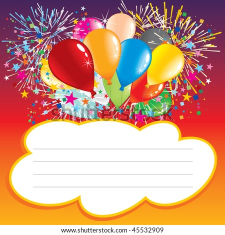 Card with balloons and text area, vector illustration  - stock vector