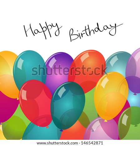 Card with balloons on white background - stock vector