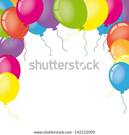 Card with balloons. Space for photo or text - stock vector