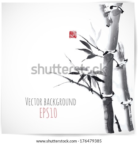Card with bamboo on white background in sumi-e style. - stock vector