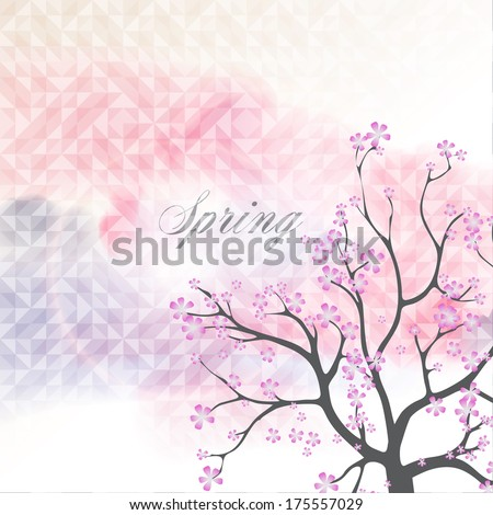 Card with Beautiful Flowering Japanese Cherry Blossom Tree  and banner on  elegant background in modern style.  Vector Illustration
