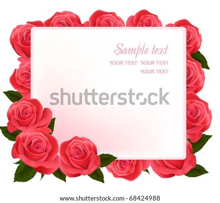 Card with beauty pink roses. Vector illustration.