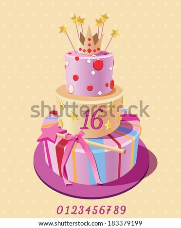 Card with birthday cake and numbers. Vector. Pink. - stock vector