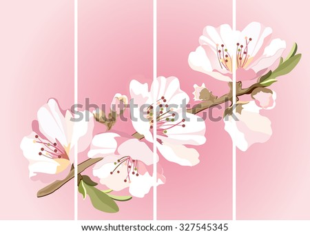 Card with blossoming oriental cherry branch in traditional japanese sumi-e style - stock vector