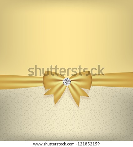 Card with bow and ribbon vector illustration - stock vector