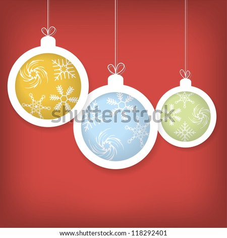 Card with Christmas balls vector eps10