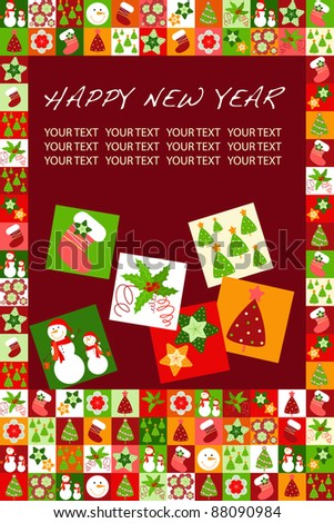 card with Christmas decorations