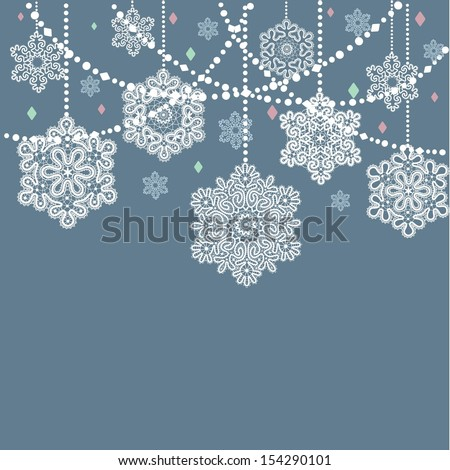 Card with  Christmas snowflakes - stock vector