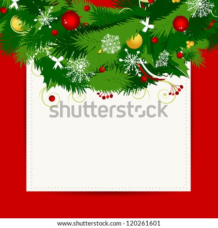 Card with christmas wreath for your design - stock vector