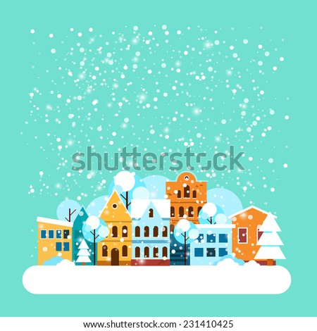 Card with city winter landscape with falling snow. Winter holidays landscape with snow covered city. Merry Christmas and Happy New Year greeting card. Vector Flat illustrations. - stock vector