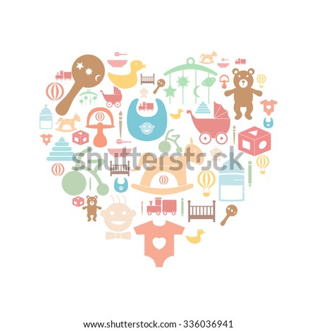 card with colorful baby icons - stock vector