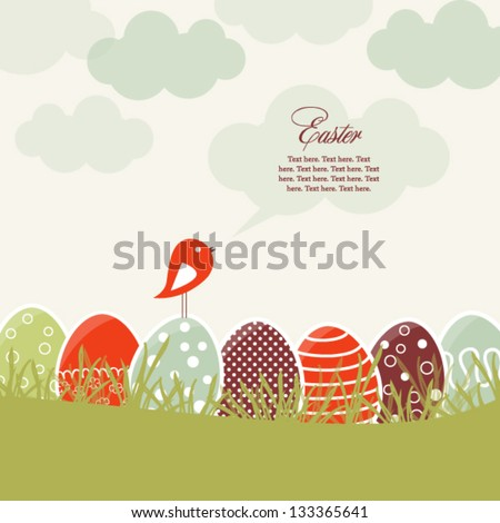 Card with colorful Easter eggs and bird - stock vector