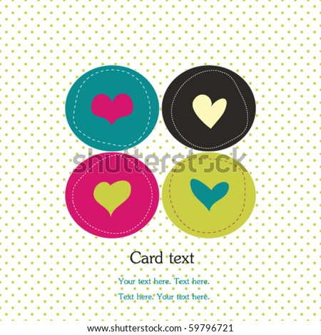 Card with colorful hearts and polka dot background - stock vector