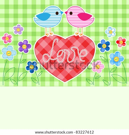 Card with couples of birds on red heart among flowers with place for text. - stock vector