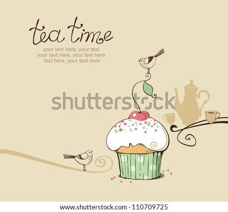 card with cupcake and tea - stock vector