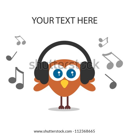 Card with cute bird listening to music - stock vector