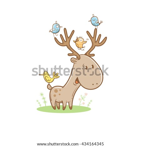 Card with cute cartoon deer and birds. Little funny animal. Children's illustration. Vector image. Big horns. - stock vector