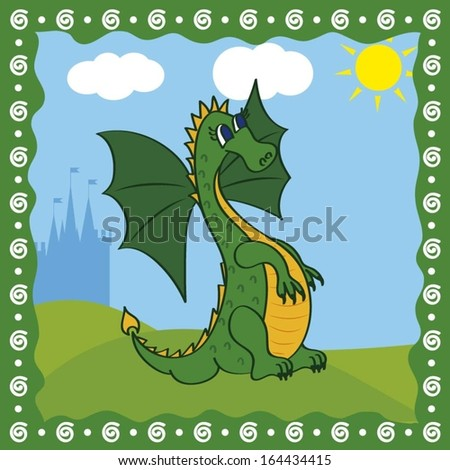 card with cute dragon on a castle background - stock vector