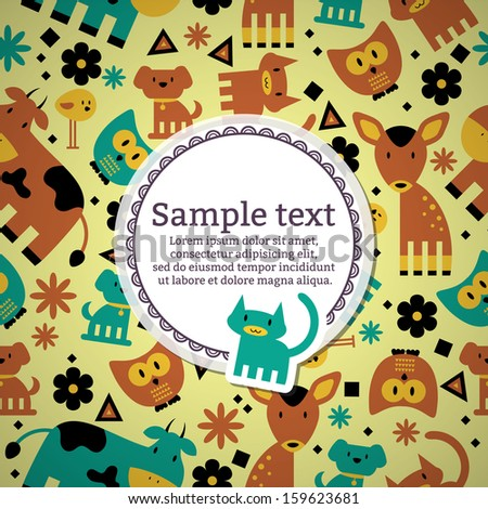 Card with cute funny animals - stock vector