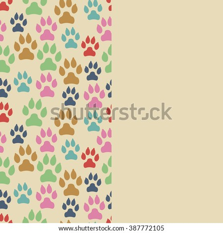 Card with dog track seamless pattern and empty space. Vector illustration. - stock vector