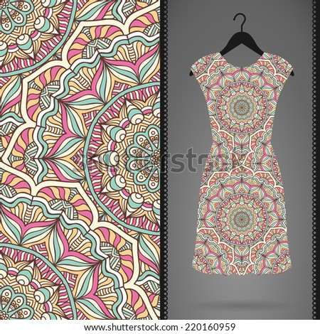 Card with dress and seamless pattern. Vintage decorative elements. Hand drawn background. - stock vector