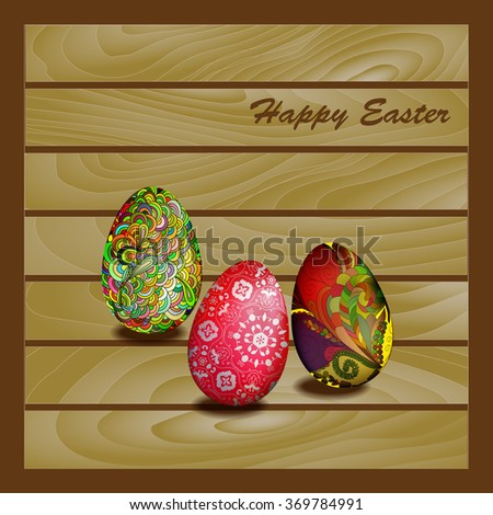 Card with Easter eggs on a wooden wall background - stock vector