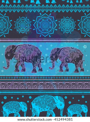Card with Elephant. Frame of animal made in vector. Pattern Illustration for design, pattern, textiles. Hand drawn map with Elephant and mandala. Use for children clothes, pajamas - stock vector