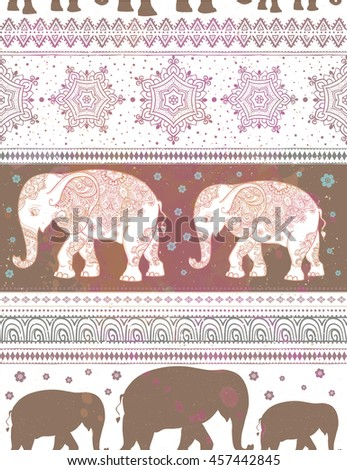 Card with Elephant. Frame of animal made in vector. Pattern Illustration for design, pattern, textiles. Use for children clothes, pajamas - stock vector