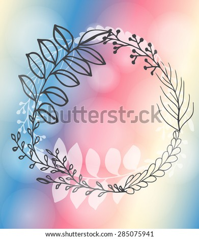 Card with floral elements and place for text - stock vector