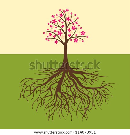 card with floral tree vector warm colors, decoration for walls - stock vector