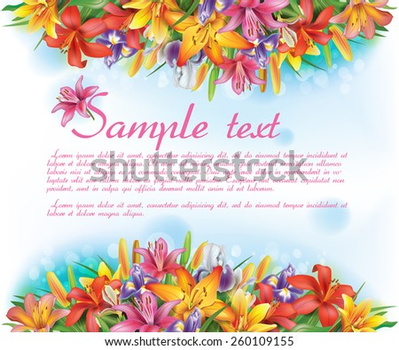 Card with flowers - stock vector