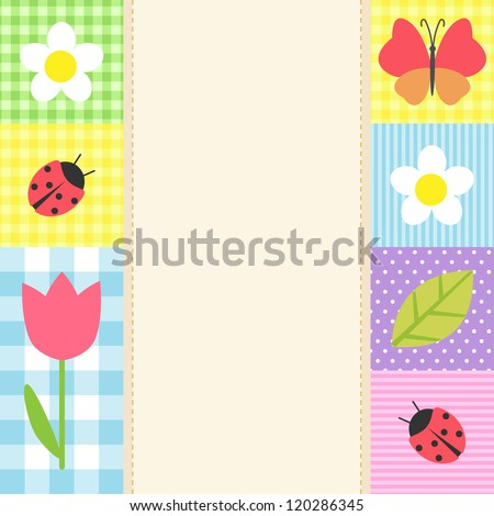 Card with flowers and butterflies - stock vector