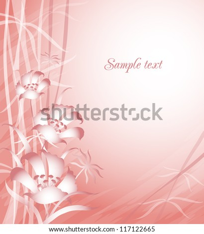 Card with flowers and leaves - stock vector