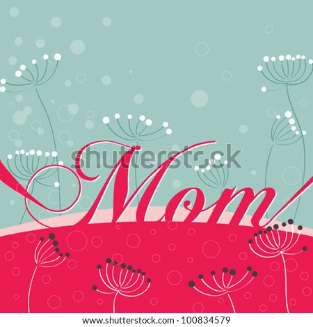 Card with flowers for Mothers day - stock vector