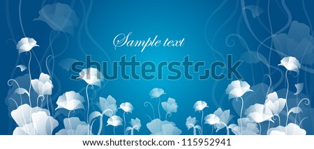 card with flowers on a blue background - stock vector