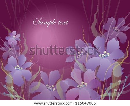 card with flowers on a purple background with balls - stock vector