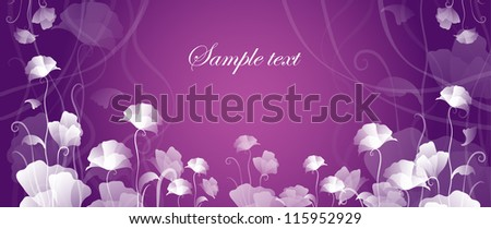 card with flowers on a violet background - stock vector