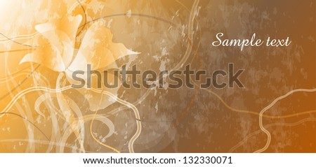 card with flowers on golden background horizontal - stock vector